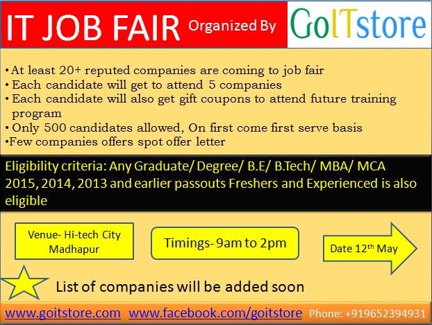 Goitstore IT Job Fair Hyderabad