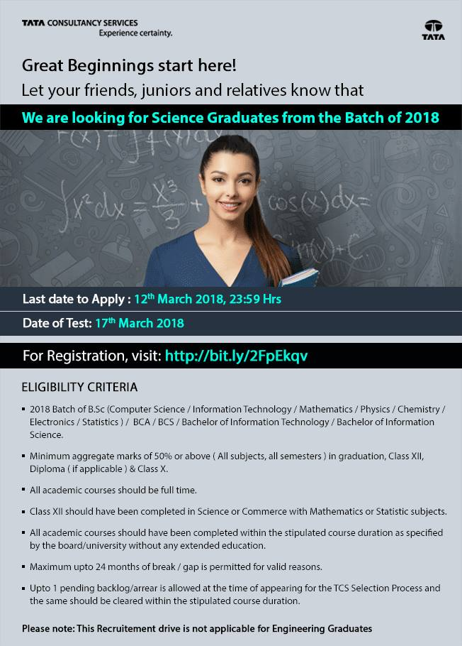 Tcs Hiring Freshers 2018 Across India As Trainee On March 2018 Freshers Jobs And Walkins